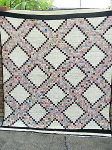 Antique IRISH CHAIN QUILT HAND PIECED  & SEWN COTTON FEED SACK ALL HAND DONE
