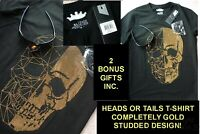 NWT/NEW COTTON/SPANDEX HEADS OR TAILS HALLOWEEN STUDDED GOLDEN SKULL T-SHIRT-S=L