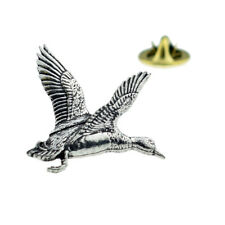 Rising Mallard Duck English Pewter Lapel Pin Badge XTSPBB12