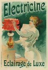 AP78 Vintage French Electricine Jules Cheret Advertisement Poster Card Print A5