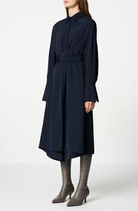SCANLAN & THEODORE navy powdered viscose eyelet shirt dress - size 8