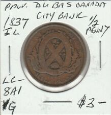 1837 Province Du Bas Canada City Bank Half Penny LC-8A1 #1