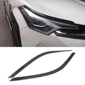 For Toyota C-HR CHR 2016-2020 Carbon Black Front Head Light Eyebrow Cover Trim