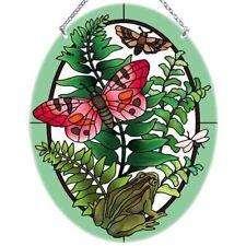 "Botanical Butterfly, Frog, & Ferns Art Glass Suncatcher 9"" x 6.5"" Joan Baker"