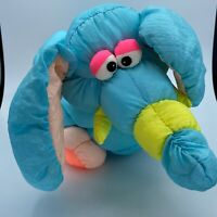 "Vintage Pretige Toys Teal Elephant Puffalump Squeaker 17"" Plush Toy *flaw*"