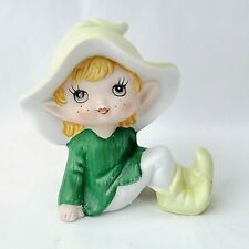 Vintage Homco Pixie Elf Green Sitting Porcelain Figurine #5213 Small Woodland