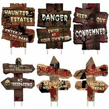 Halloween Decorations 6 Pack Yard Signs Stakes Beware Props Halloween Outdoor D