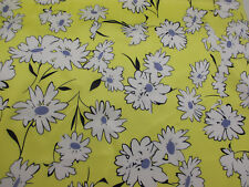 Yellow Daisy Floral Superior Cotton Sateen Blend Printed Dress Fabric.
