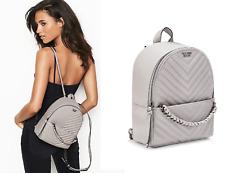 VICTORIA'S SECRET VS PARIS V-Quilt Small City Backpack GREY SILVER BAG PURSE NEW