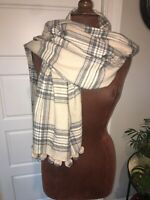 J. CREW One Size Gray/Cream Super Soft Plaid Scarf Table Runner W/Pom-Pom Edge