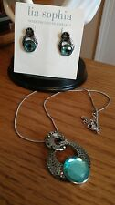 New Lia Sophia Kiam Family Caleigh Earrings & Necklace Aqua Stone Silver Crystal