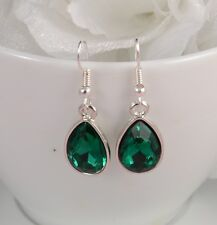SMALL TEAR DROP SILVER TONE YELLOW, TURQUOISE OR GREEN FACETED CRYSTAL EARRINGS