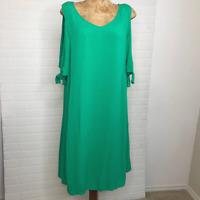 Soft Surroundings Women Destin Dress NWOT Sz M Green 2AF78 Cold Shoulder