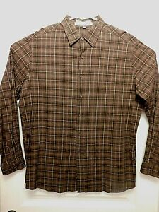 PERRY ELLIS BUTTON UP LONG SLEEVE PLAID DRESS SHIRT LARGE SHADES OF BROWN (B1010