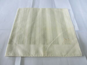 """USED  WHITE &IVORY STRIPED PATTERN COTTON 18"""" POCKET SQUARE HANDKERCHIEF FOR MEN"""