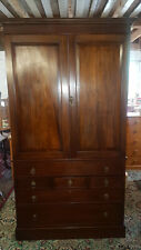 More details for victorian linen press wardrobe multiple drawers below with key