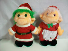 "Lot 2 Chosun Plush Trolio Trolls Santa & Mrs. Claus 16"" 1992"