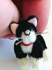"Miniature Black & White Tuxedo Cat Plush Jointed Figure Animal 1 3/8"""