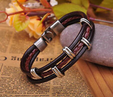 G230 Brown Cool Metal-Work Single Wrap Vintage Leather Bracelet Cuff Men's New