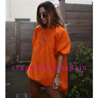 ZARA WOMAN NWT SS20 SALE! ORANGE OPENWORK EMBROIDERED DRESS REF: 7200/033