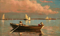 """Oil painting winslow homer - Gloucester Harbor family boating on the river 36"""""""