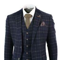 Mens Navy Blue 3 Piece Herringbone Check Suit Vintage Retro Peaky Blinders Tweed