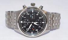 Steel Mens Watch Day Date W277-Iwc Pilots Watch Chronograph Schaffhausen 42mm