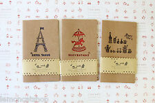 Kraft Greeting Cards 3pc cute cartoon Eiffel Horse Animals birthday gift card