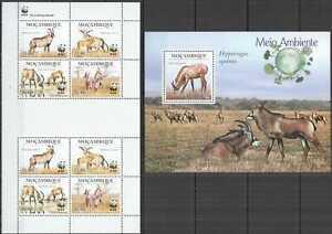 NW0441 2010 MOZAMBIQUE WWF ANTELOPES WILD ANIMALS #3658-3661 KB+BL316 SALE