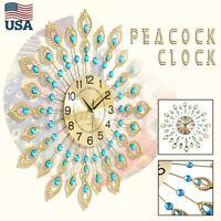 US 60CM Large Wall Clock Peacock Diamond Metal Watch Design DIY Home Living Room
