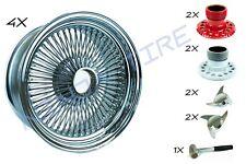 LOWRIDER WIRE WHEELS 14X7 STANDARD CHROME 100 SPOKE - Set of 4