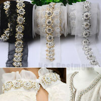 1 Yard Pearl Beaded Sequins Lace Trim Wedding Dress Collar Applique Edging