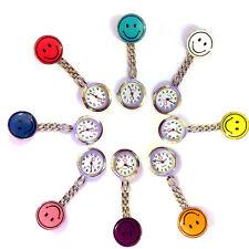 Smiling Face Clip Brooch Medical Doctor/Nurse Watches Pocket Fob Quartz Watch