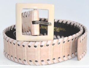 $1290 NEW Oscar de la Renta Whipstitch Alligator Belt Crocodile Nude Beige XS