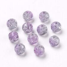 30pcs Light Purple Plum 10mm Round Crackle Glass Beads DIY Craft Jewelry Making