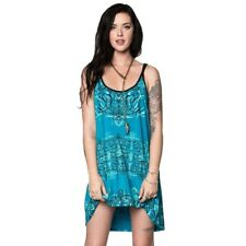 Metal Mulisha Women's Glory Dress Teal Hi-Lo Hemline with Halter Straps