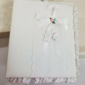 Vintage Hallmark Cherish Fabric Covered Keepsake Baby Album Eyelet Trim NOS