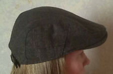Tweed flat cap with clasp adjustment brown lined one size hard peak