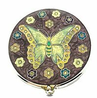 Butterfly Compact Mirror Small Trinket Embellished Enameled Hand Held Purse Gem