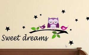 Wandtattoo Sweet dreams Tiere Eule Kinderzimmer Deko Bild Schlafzimmer A042