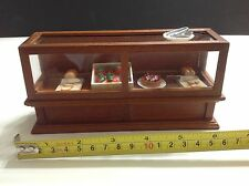 Miniature Dollhouse Shop Bakery Brown Wood Display Case Cabinet 1:12 No Food
