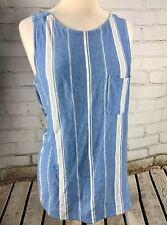 Banana Republic Tank Top Sleeveless Lightweight Knit Cotton/Model Blue Stripe M