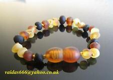 Baltic Amber Bracelet/Anklet - Unpolished Colours Mixed, Knotted Beads 14-19 cm