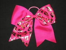 "NEW /""PURPLE CHEETAH/"" Cheer Bow Pony Tail 3/"" Ribbon Girls Hair Bows Cheerleading"