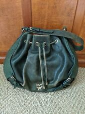 Authentic MCM Dark Green Embossed Leather Hobo Shoulder Bag Made in Italy