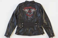 Harley Davidson Women AMELIA Black Leather Biker Jacket Winged B&S XL 97189-14VW