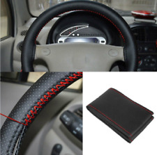 Black+Red PU Leather DIY Car Steering Wheel Cover 38cm With Needles and Thread Z