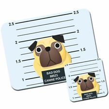 Police Lineup Chinese Pug Mouse Mat / Pad and Coaster Set