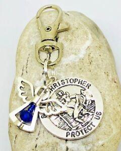 September Birthstone Guardian Angel & St Christopher Keyring safe travels gift