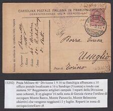 POSTA MILITARE 1916 Intero da PM 46° Divisione a Usseglio (FIY)